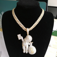 Hip Hop AAA Cubic Zirconia Paved Bling Iced Out Angel Give Dollars Money Pendants Necklace for Men Rapper Jewelry