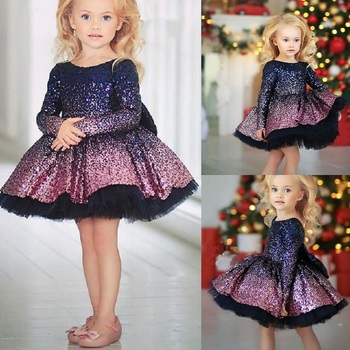 Girls Dresses Ombre Sequine Gowns Long Sleeve Purple Pageant Cute Tutu