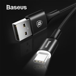 Baseus USB Type C Cable USB C for Samsung S9 S10 LED Lighting Type C Cable for Huawei P30 Lite Pro USB-C Mobile Phone Cables