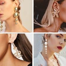 Boucles d'oreilles EN métal doré pour femmes, grandes perles, longues, pendantes, goutte d'eau, bijoux de fête à la mode