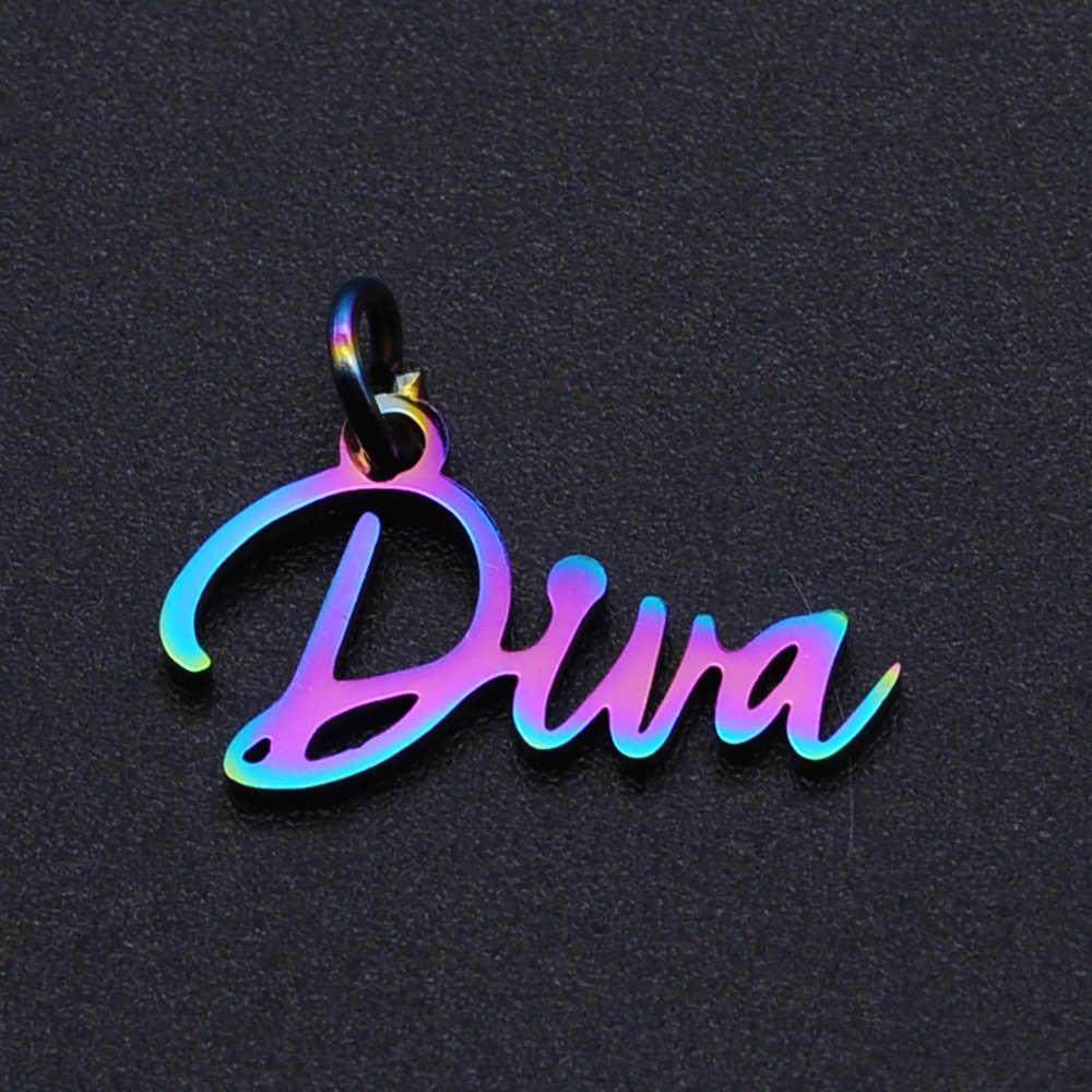 1pc Diva Word Script Stainless Steel Charm Pendant 099-104