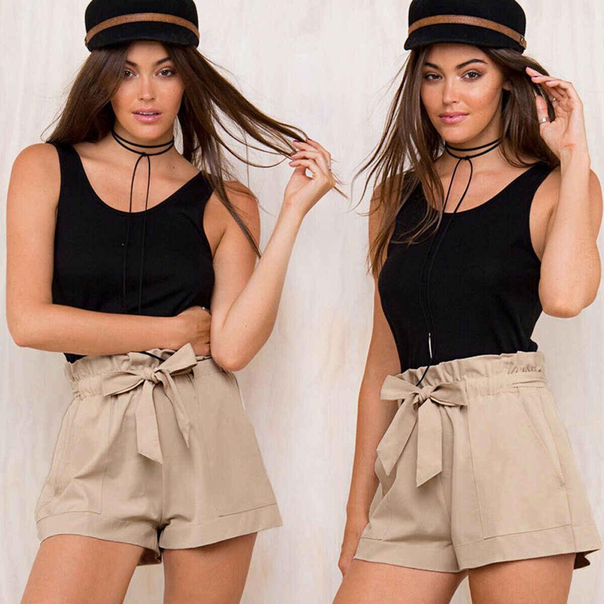 2019 Yeni Moda Kadınlar Yaz Gevşek Yüksek Bel Kravat Kemer Şort Pantolon Bayanlar Düz Plaj Tatil Rahat Basit Ince Dipleri