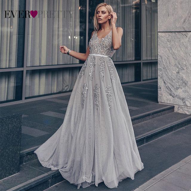 Prom Dresses Long 2020 Ever Pretty Elegant Long V-neck Tulle Lace Applique Sleeveless A-line Hot Selling Vestidos De Graduacion