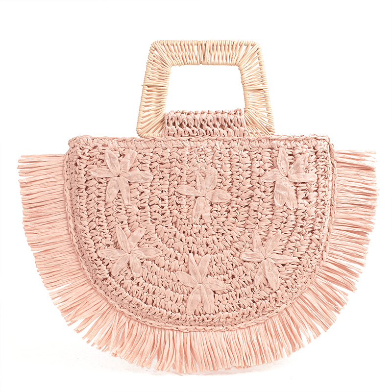 Semicircular Moon Bag Trapezoid Handle Flower Embroidery Handbag Bamboo Rattan Paper Mixed Hand-woven Tassel Straw Bag