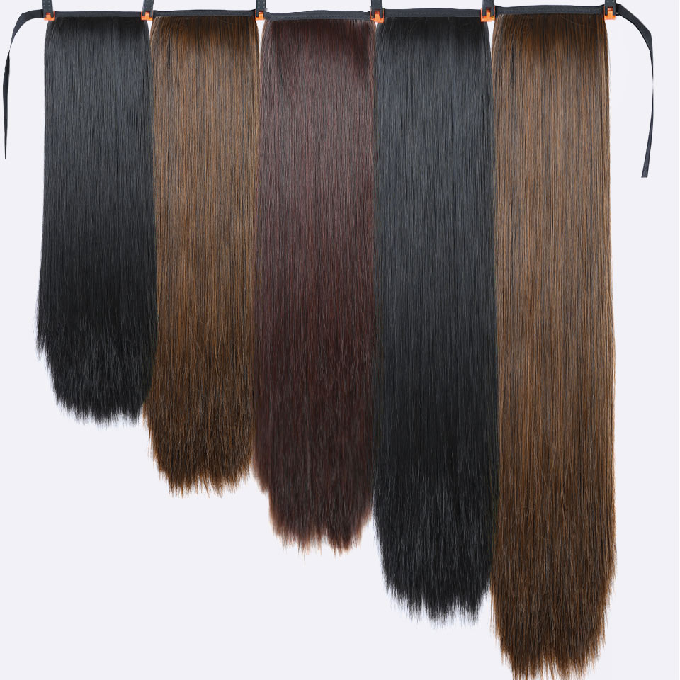 Xnaira Fake Hair Pieces 16-38 Inches Afro Long Straight Drawstring Ponytail Synthetic Hair Bun Pony Tail Clip In Hair Extensions