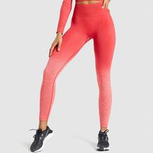 Ombre bezszwowe legginsy damskie wysokiej talii spodnie jogi Scrunch Butt legginsy gimnastyczne leginsy sportowe kontrola brzucha na trening sportowy spodnie tanie tanio BONJEAN CN (pochodzenie) Elastyczny pas Poliester WOMEN Pasuje prawda na wymiar weź swój normalny rozmiar Yoga Kostki długości spodnie