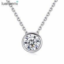 LUOTEEMI ожерелье на цепочке, маленькие круглые 1 карат Сердца и стрелы, кубический цирконий, кулон, OL стиль, ожерелье для женщин, фабрика