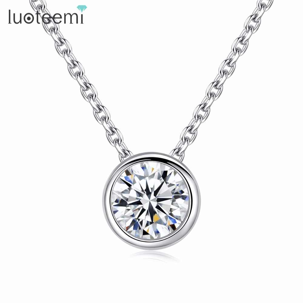 LUOTEEMI Simply Chain Necklace Small Round 1 carat Hearts and Arrows Cubic Zirconia Pendant OL Style Necklace for Women Factory
