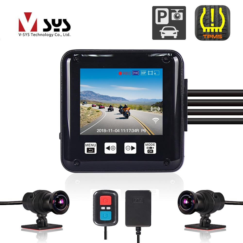 VSYS-cámara grabadora P6F F6 para motocicleta, grabador DVR con WiFi, modo de aparcamiento, TPMS Dual, 1080P, cuerpo completo, impermeable, cámara de salpicadero