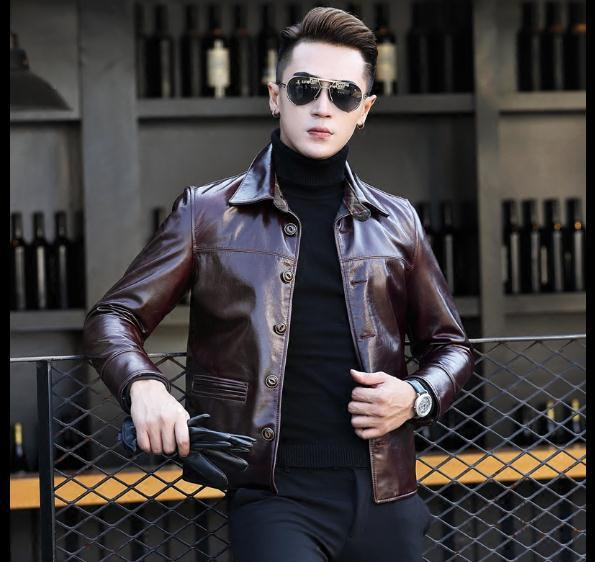 Free Shipping,Mens Purple Classic Casual Cowhide Jacket.man Quality Genuine Leather Coat.fashion Cool Clothing For Man,sales