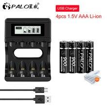 Palo 1.5V Li-Ion Aaa Oplaadbare Batterij 900Mah Aaa 1.5V Lithium Liion Oplaadbare Batterijen En Oplader Voor Led licht Speelgoed MP3