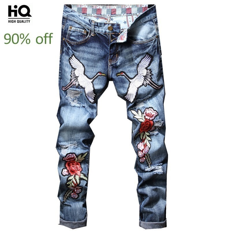 2020 New Fashion Hole Embroidery Straight Jeans Men Male Hole Ripped Jeans Straight Denim Pants Men Casual Slim Fit Trousers