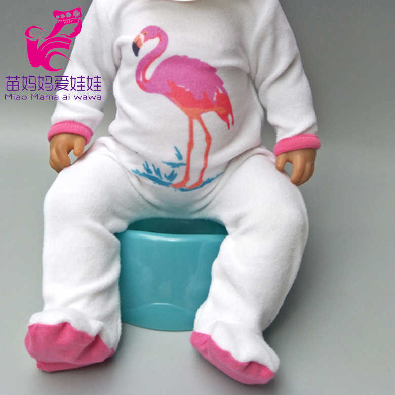 "Doll Rompers cartoon flamingo clothes for  newborn baby doll oufit sets for 18"" baby doll accessories toys wear kids gift"