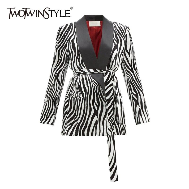 TWOTWINSTYLE Satin Striped Women's Blazer V Neck Long Sleeve Lace Up Elegant Autumn Coats Female 2019 Fashion Clothing New