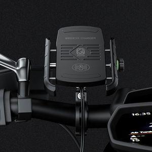 Image 5 - Soporte de carga rápida Qi para teléfono de motocicleta, soporte de montaje para iPhone Xs MAX XR X 8 Samsung Hu, resistente al agua, 12V