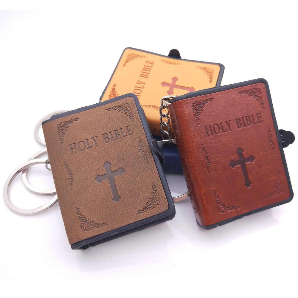 Bonito mini diversão inglês bíblia sagrada chaveiros religioso cristão jesus cruz chaveiros feminino saco presente lembranças pode ler a bíblia