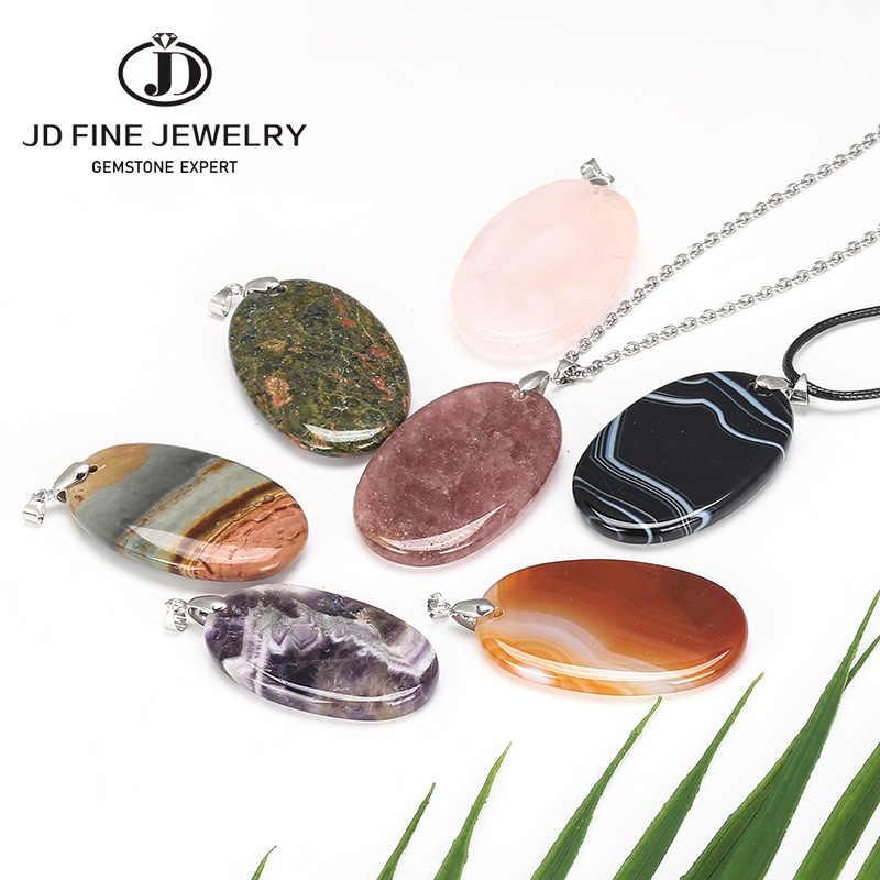 JD טבעי אבן גדול תליוני עין נמר ורוד קוורץ סגול קריסטל Glaucophane שרשרת מעל שטוח חרוז נשים ריפוי תכשיטים