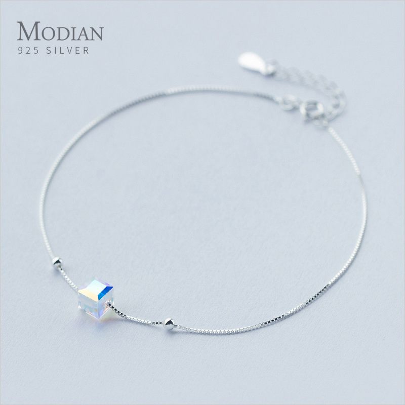 Modian 3D Square Fashion Silver Bracelet for Leg 925 Sterling Silver Anklets for Women Natural Crystal Stone Fashion Jewelry