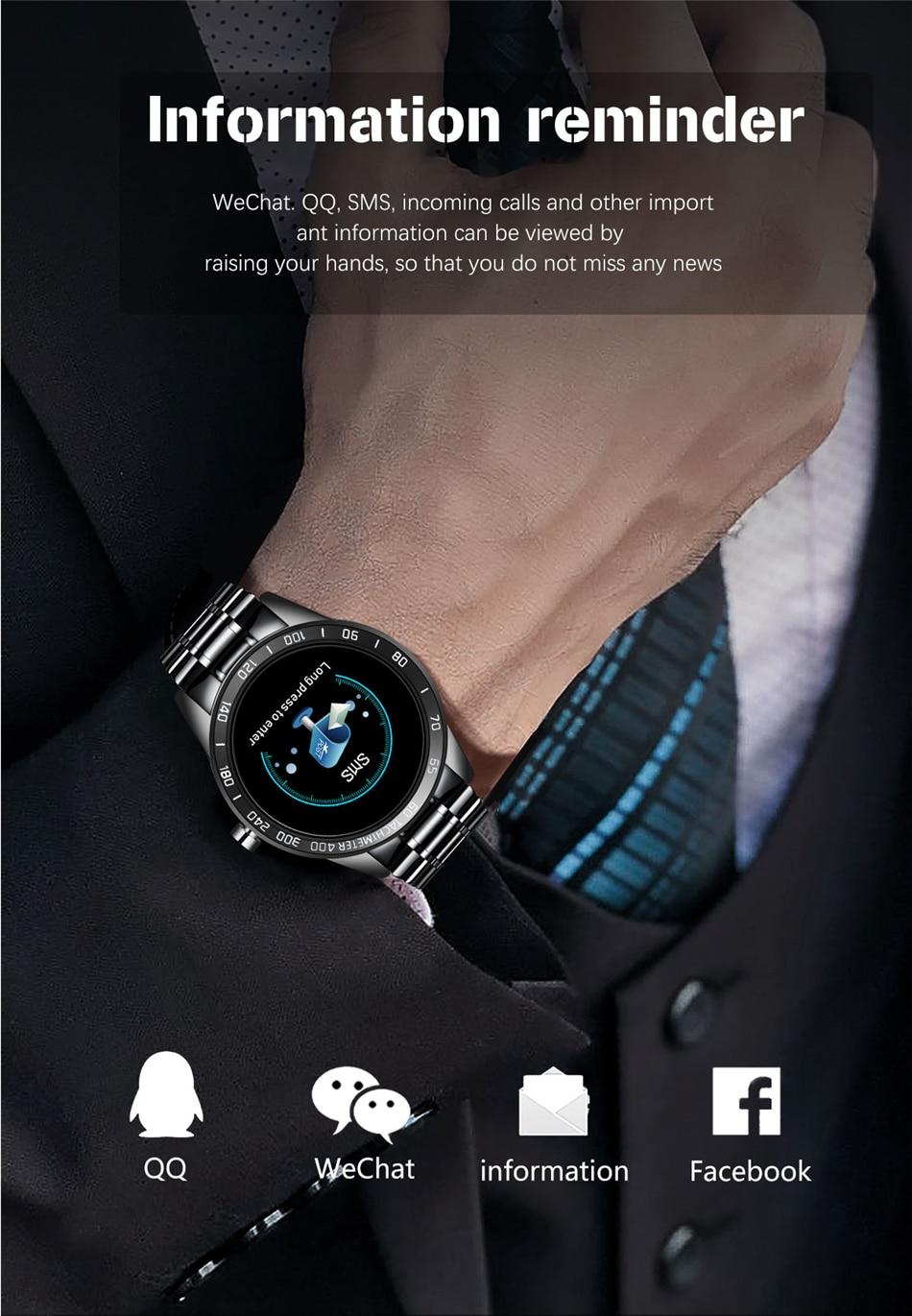 H1534b32ec7774be5974e38ad9fa36d02X LIGE Steel Band Smart Watch Men Heart Rate Blood Pressure Monitor Sport Multifunction Mode Fitness Tracker Waterproof Smartwatch