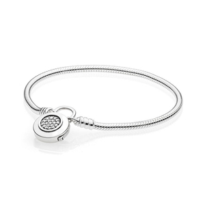 NEW 100% 925 Sterling Silver Original Classic Logo Charm Lock Basic MOMENTS SMOOTH BRACELET WITH SIGNATURE PADLOCK DIY Bead