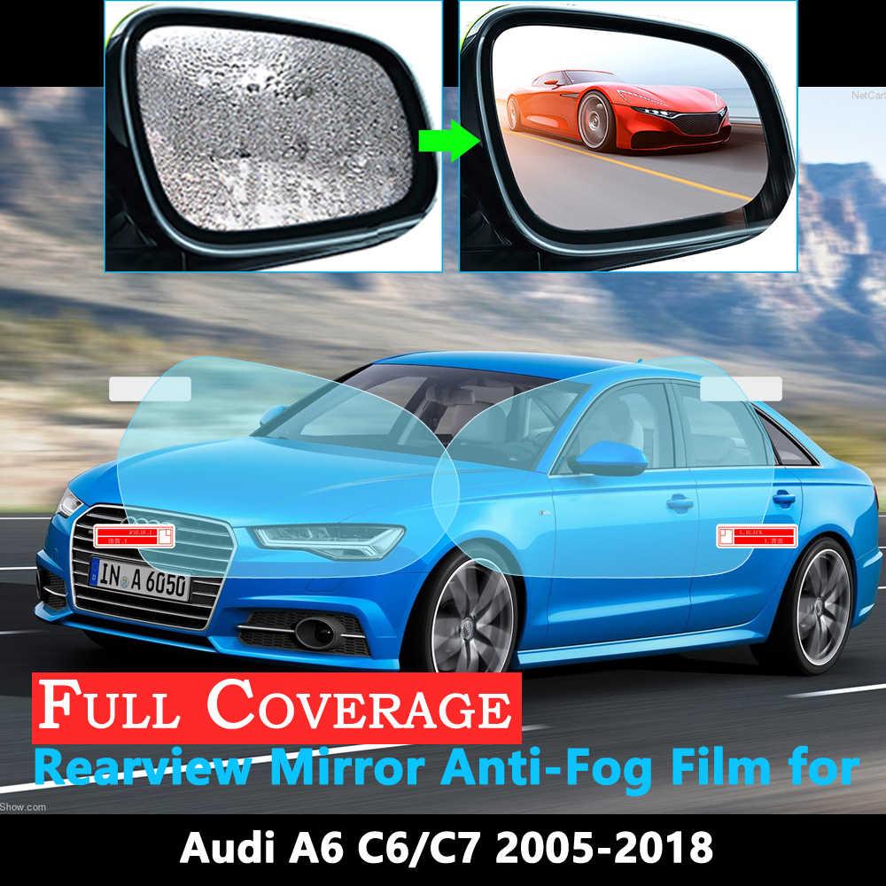 Pełna ochrona telefonu Film dla Audi A6 C6 C7 4F 4G Sline 2005 ~ 2019 naklejka na samochodowe lusterko wsteczne przeciwdeszczowe folie przeciwmgielne akcesoria 2018