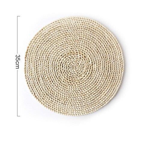 Corn fur woven Dining Table Mat Heat Insul Round Coasters Pot Holder f