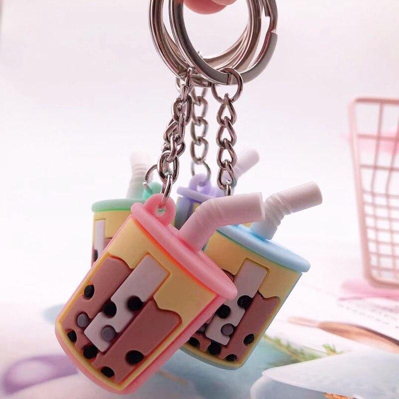 4pcs/set 2.8*4.8cm Soft Silicone Bubble TEA Key Chains, Simulation Car Bag Accessories, Promotion Gift, Creative Key Rings