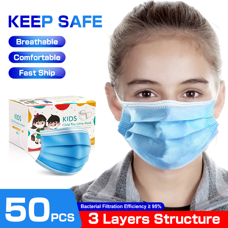10/50 Pcs 3 Layers Filter Disposable Kids Mask Child Protection Respirator Mask Face Mouth Children Safety Masks