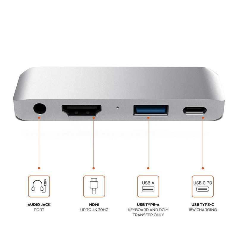 USB C концентратор адаптер с USB-C TYPE C PD Зарядка 4K HDMI USB 3,0 3,5 мм наушники для iPad Pro 2018 для MacBook Pro удлиненная док-станция