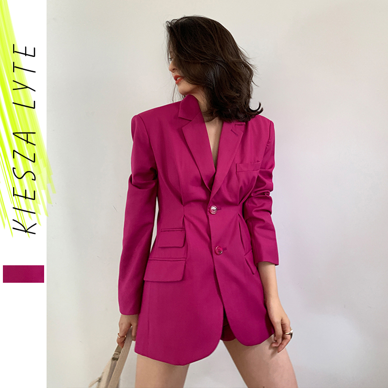 Women Blazer Rose Red Long Sleeve Casual Slim Suit Jacket Fashion Chic Office Ladies Blazers Female 2020 Spring Summer Outerwear