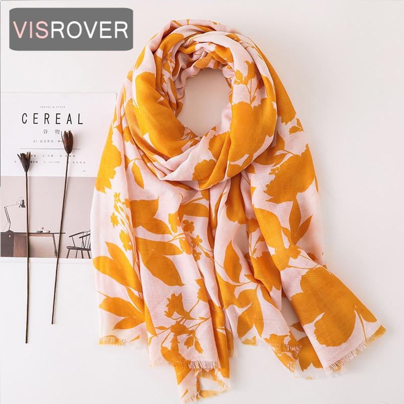 VISROVER 2020 Fashion Summer Leaf Printing Viscose Scarf With Small Fringer Fashion Wraps Shawls Summer Beach Hijab Wholesales