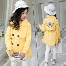 цена 2019 New Autumn  Girls  Coat Toddler Clothes Full Sleeve Windbreaker coat With  Kids Trench Coat Outerwear Coat Tops  6 9 12 Y онлайн в 2017 году