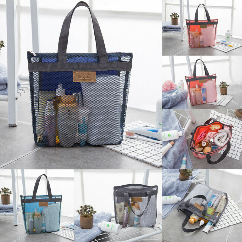 Fashion Travel  Toiletries Storage Bag Solid Mesh Zipper Handbag Cosmetic Wash Storage Bag Makeup Bag