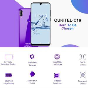 "Image 2 - Oukitel C16 Android 9,0 pastel Smartphone cara ID 5,71 ""19:9 gota de agua pantalla 2GB RAM 16GB ROM MT6580P Quad Core 4G teléfono móvil"