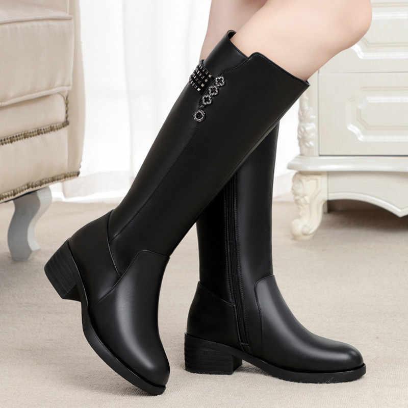 Hakiki deri kadın diz yüksek çizmeler kış artı kadife yün bayan yüksek topuk çizmeler anne ayakkabısı kadın sıcak tutmak kadın kar botu