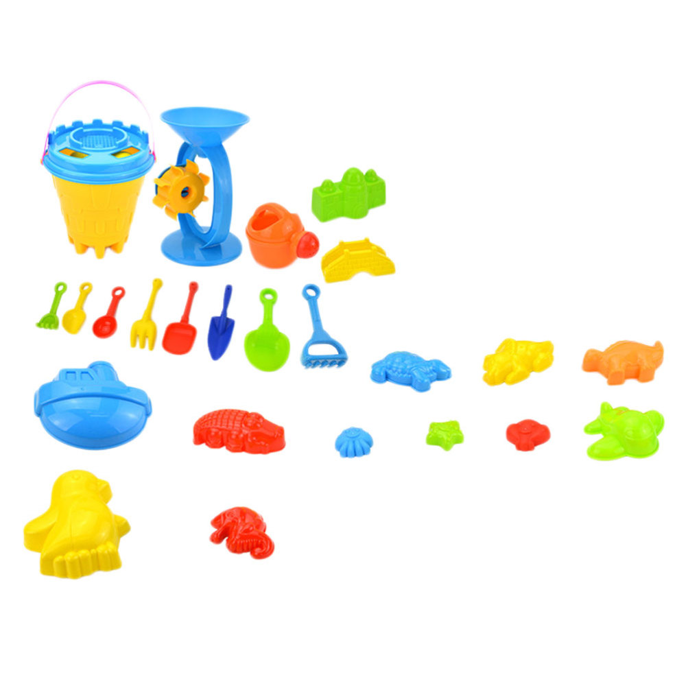 25pcs Of One Set Creative Beach Toy Funny Sand Water Toy Portable Shovel Bucket Toy Mini Sand Dredging Toys For Kids Baby Boys G