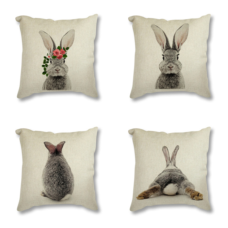 Animal Rabbit Deer Flower Crown Nursery Printed Decorative Cushion Cover Pillow Case Nordic Cushion Cover Sofa Car Decoration
