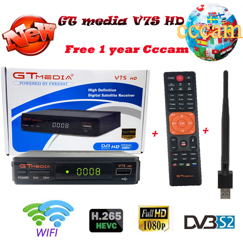 Original 1 an gratuit Europe 7 clines serveur + GTmedia V7S HD full HD TV récepteur satellite + 1 USB WIF périphérique DVB-S2 port USB