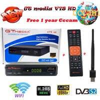 Original 1 year free Europe 7 clines server + GTmedia V7S HD full HD TV satellite receiver +1 USB WIF Device DVB-S2 USB port