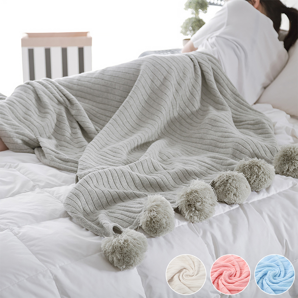 High Quality Soft Warm Blanket  Cotton Pom Crochet Thread Blanket For Baby Adults Twin Size Knitted Throws Bed Sofa Home Decor