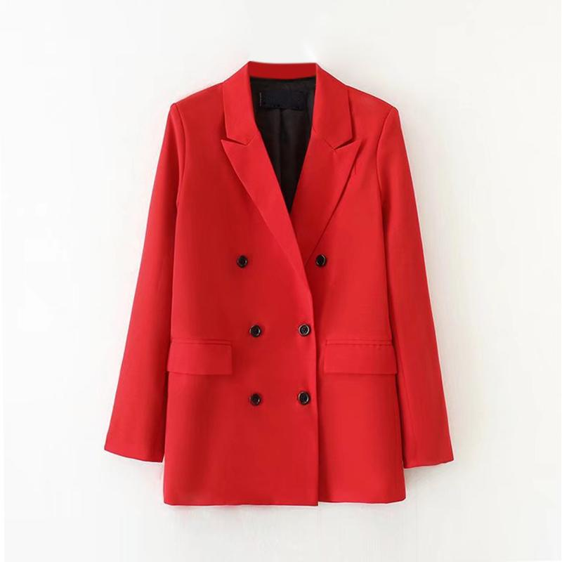 Elegant Women Office Work Blazers Double Blazers Notched Neck Pockets Red Coat Long Sleeve Solid Jacket Female Sale Items