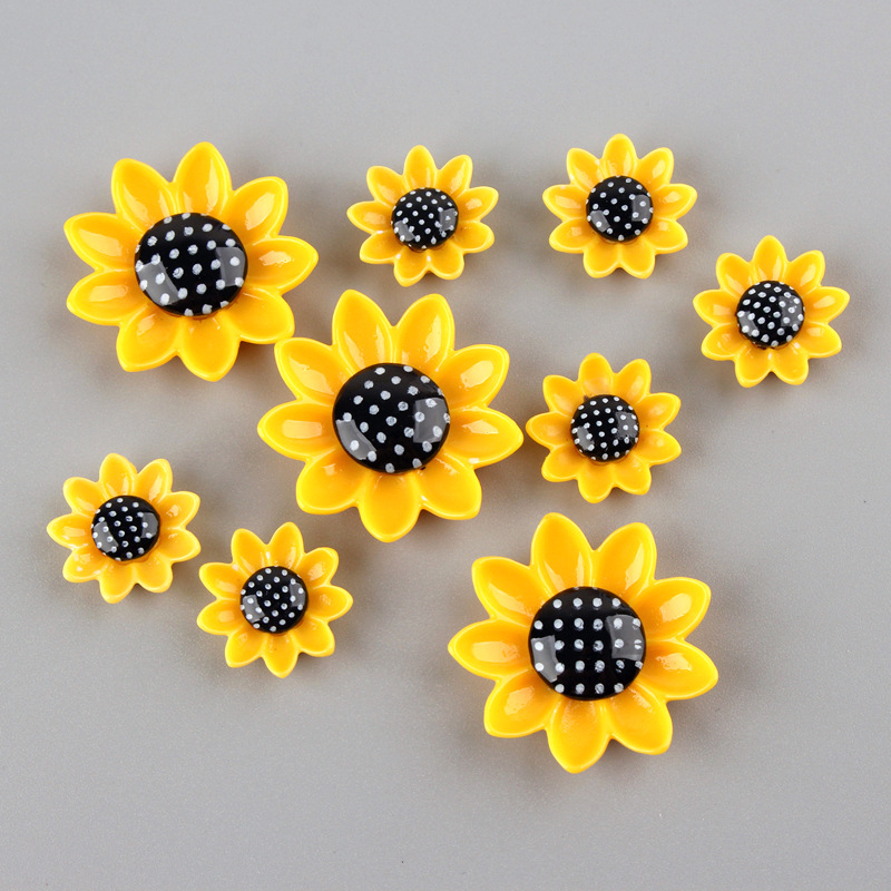 20Pcs 15/20/26mm Sunflower Resin Cabochon Flat Back Phone Decoration Flatback Cabochons For Bows Accessories DIY Scrapbooking