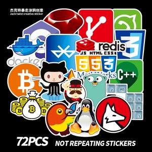 72Pcs/Lot Developer Docker Stickers Hacker CSS Programmer SQL Cool Stickers For Luggage Fridge Laptop Guitar Waterproof Sticker