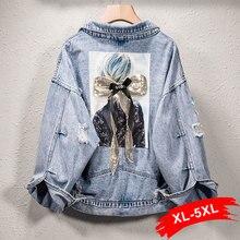 Plus Size Harajuku Sequins Beauty Applique Jeans Jacket 3XL 4XL 5XL Korean Fraye