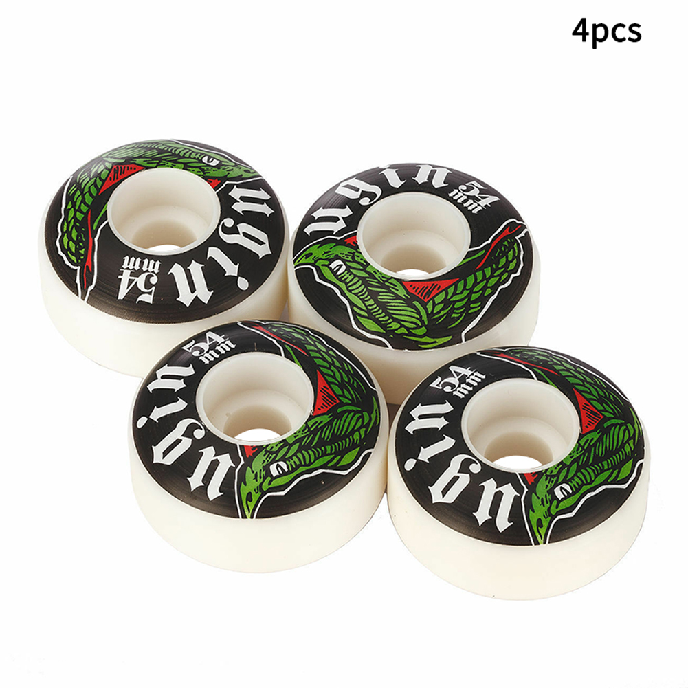 4pcs Professional Replacement Parts PU Leather Double Rocker Skateboard Wheel Sports Tire Smooth Skating Bearing Easy Install