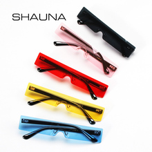 SHAUNA Ins Popular Small Rectangle Sunglasses Women Fashion Clear Red R