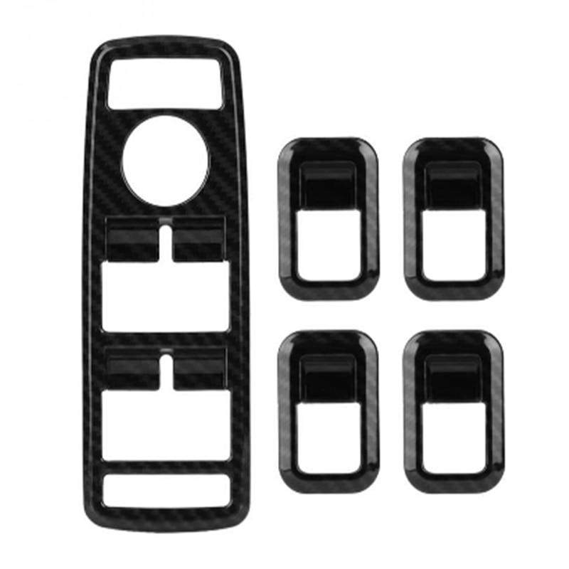 cheapest 5Pcs Car Auto Carbon Fiber Window Switch Button Trim Cover Frame for Mercedes Benz A B C E CLA GLA GLK ML GLE Class W204