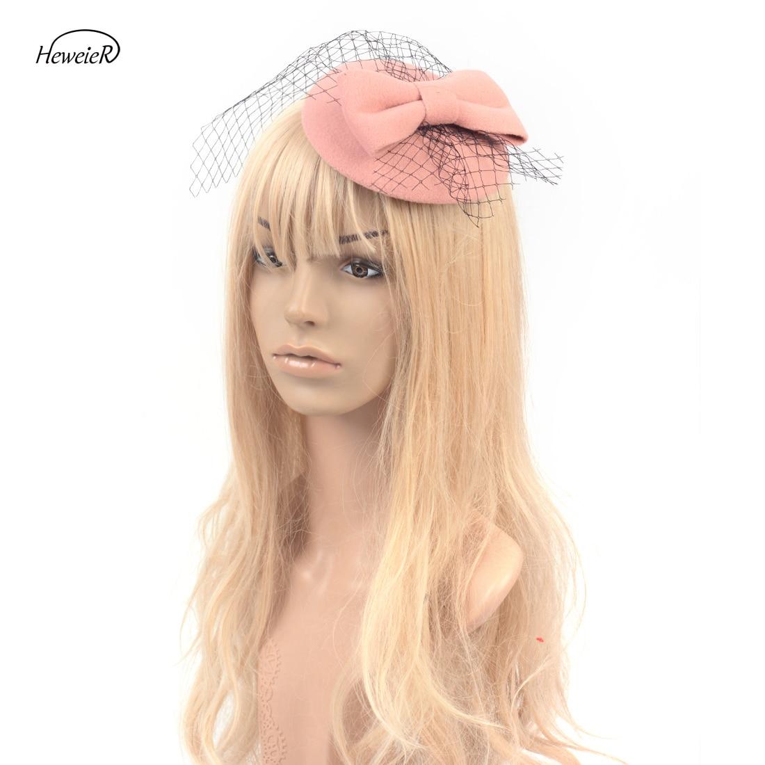 Lady Women Girls Fancy Headdress Pillbox Hat Bowknot Veils Fascinator Hair Clips Headwear Cocktail Party Accessories 4 Colors