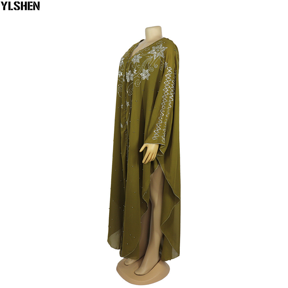 Length 150cm Africa Dress African Dresses for Women Dashiki Diamond Beaded Traditional Boubou African Clothes Abaya Muslim Dress 10