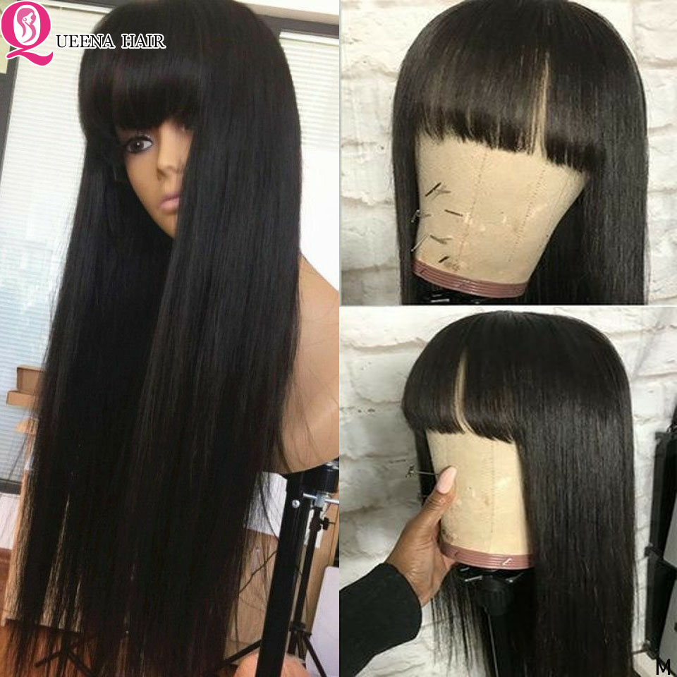 360 Lace Frontal Wig With Bangs Straight Human Hair Wigs With Bang Bob Brazilian 13x4/13x6 Lace Front Wig Remy 8''-30'' Inch 150